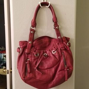 B. Makowsky red glove leather pocket shopper tote